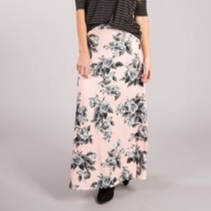 Agnes & Dora Maxi Skirt, XXS, Pink and Gray Floral